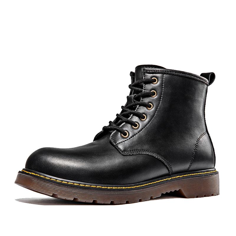 马丁靴男士中帮工装靴子高帮英伦风男靴春季潮鞋百搭短靴黑色皮靴