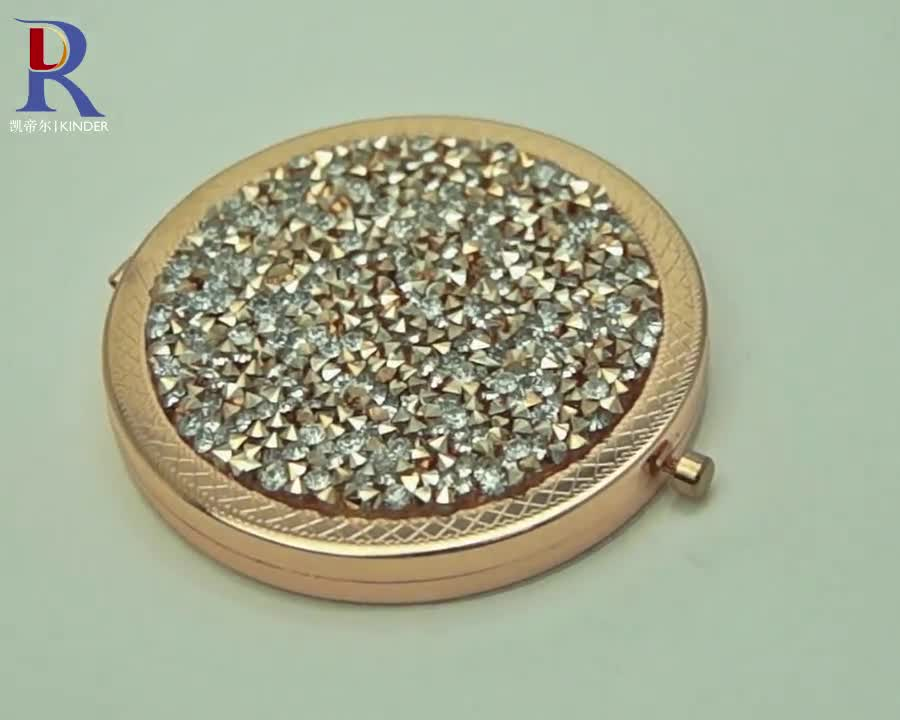 popular jeweled makeup mirror factory OEM bling crystal compact mirror