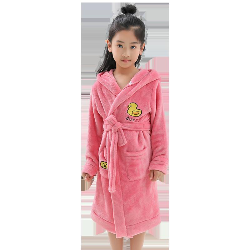 淘贝贝儿童浴袍女 公主珊瑚绒女孩女童春秋法兰绒冬季中大童睡袍