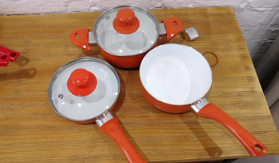 New fashion 10 pcs aluminum home kitchenware set top selling free oil ceramic cookware set with painting handles
