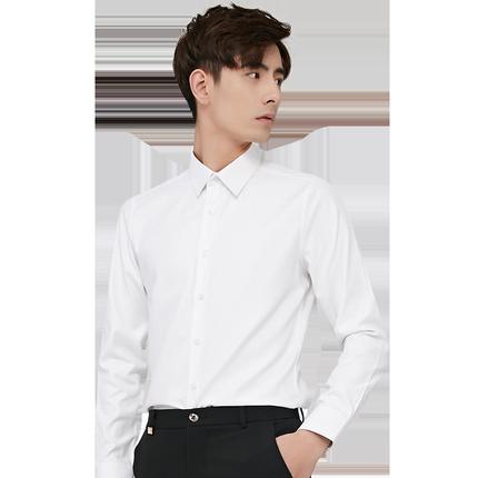 罗蒙男长袖商务休闲修身职业白衬衣