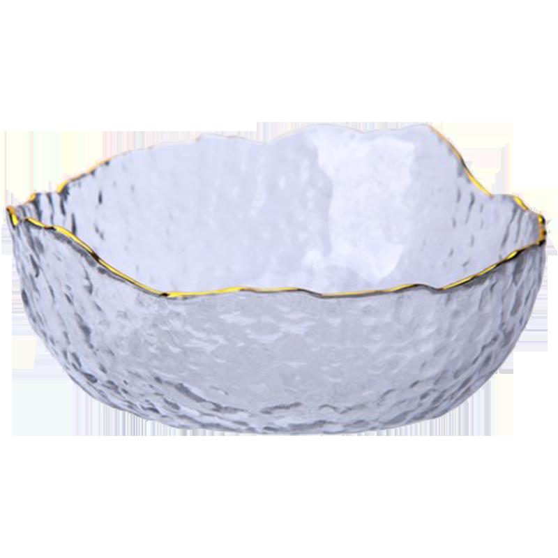 ins日式锤纹金边透明玻璃碗创意家用蔬菜沙拉碗大号水果碗甜品碗
