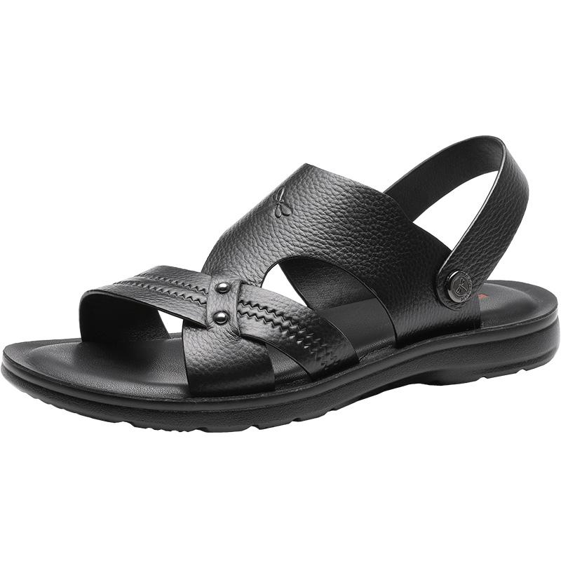 红蜻蜓男士真皮沙滩鞋夏季新款男鞋