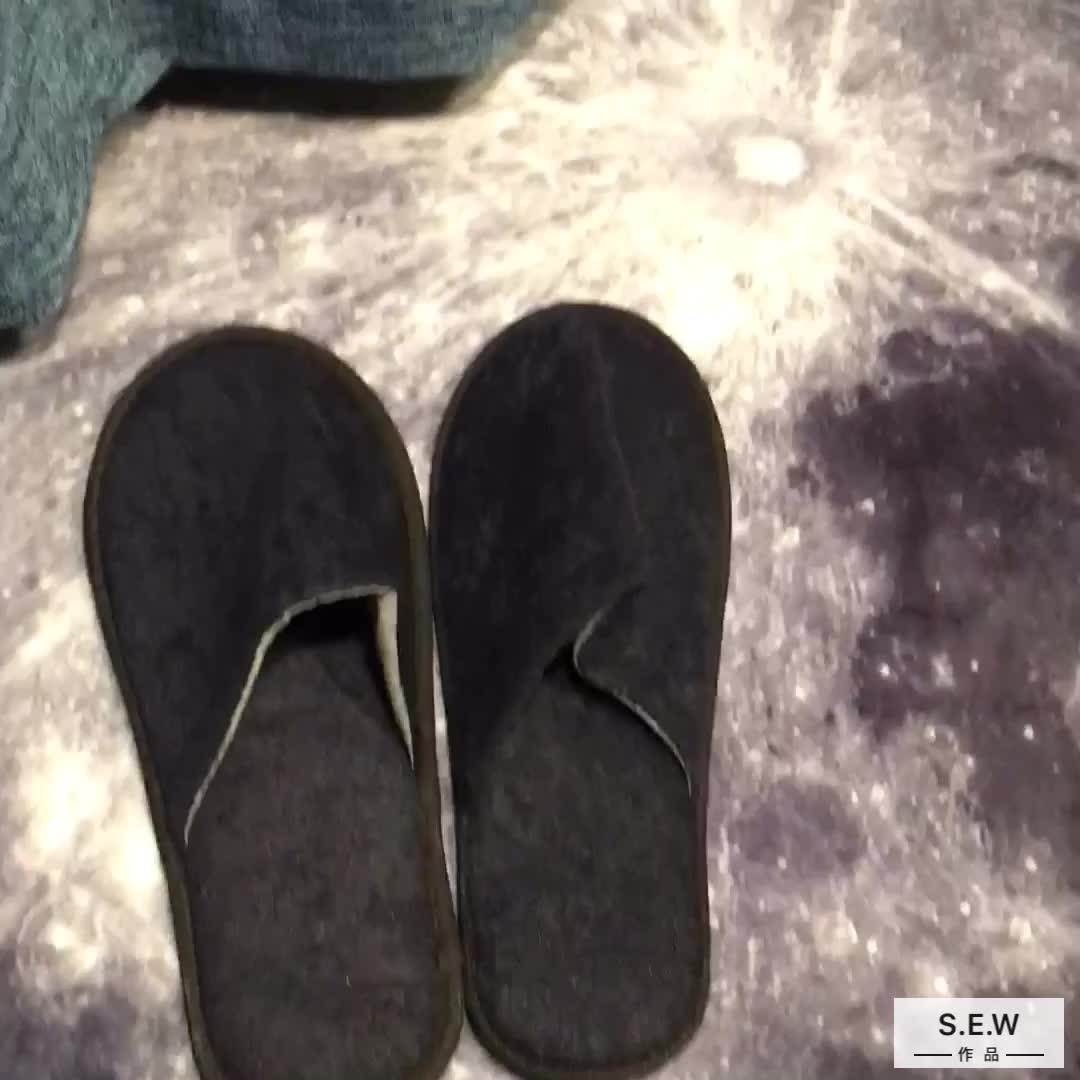 5 star terry towel washable hotel slippers with customized logo