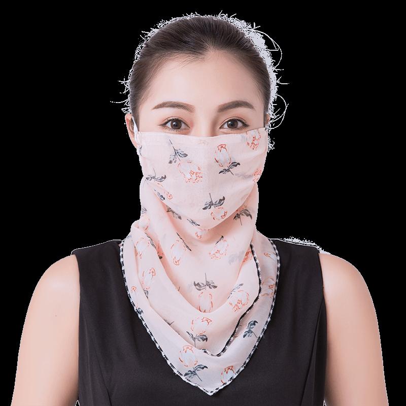 防晒三角丝巾护脖子颈口罩女夏季挂耳式围巾薄款骑车面纱遮脸面罩