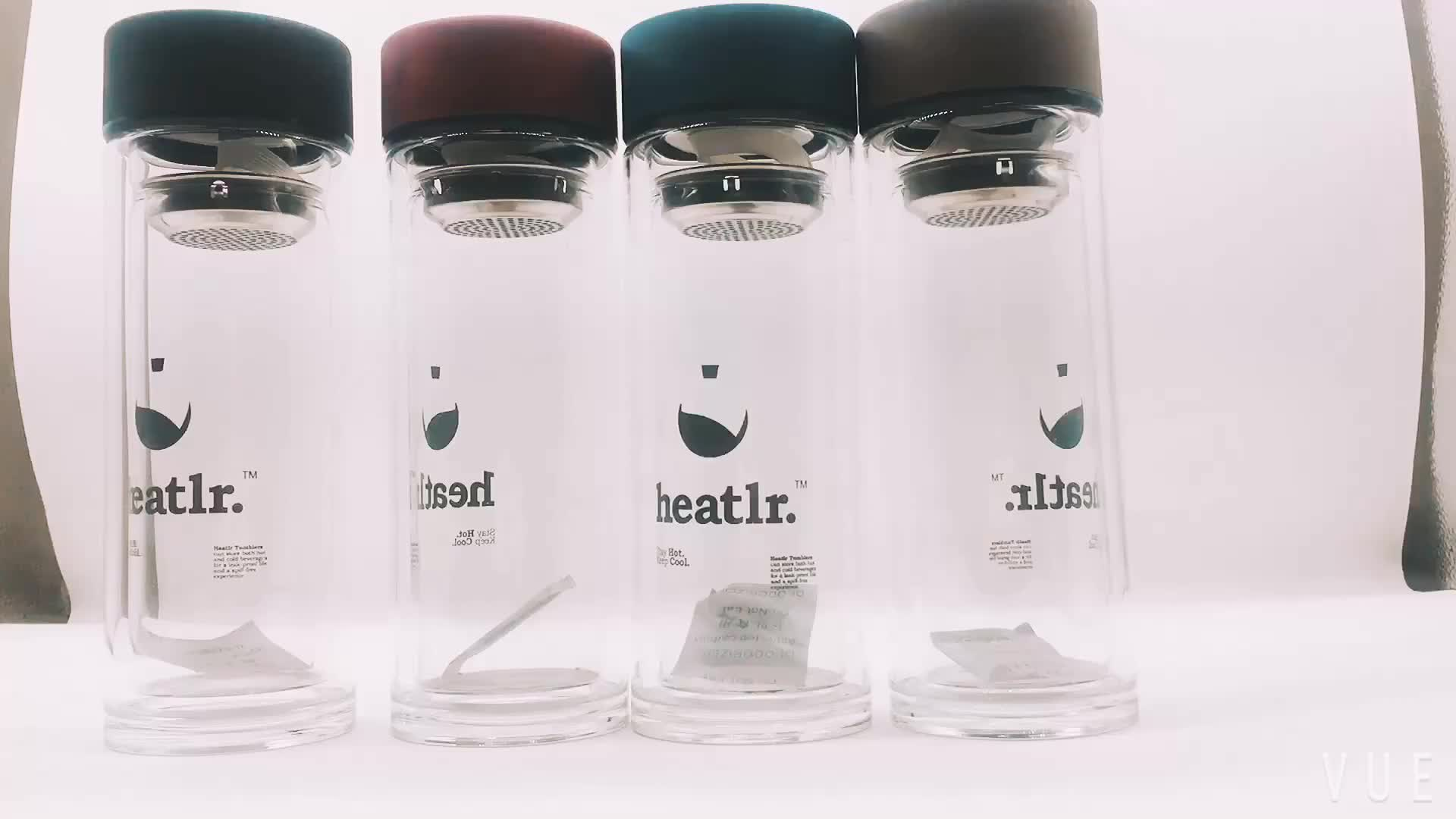Double Layer Glass Water Bottle Cup Tumbler with Tea Filter Glass Office Drinking Bottle