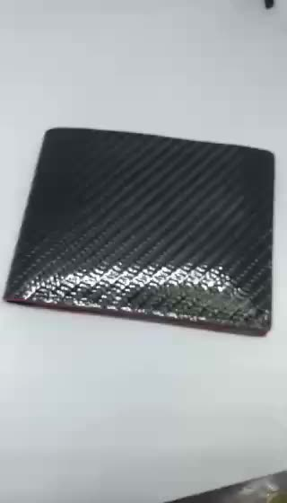 RFID Carbon fiber leather men wallet with a red oil color edge