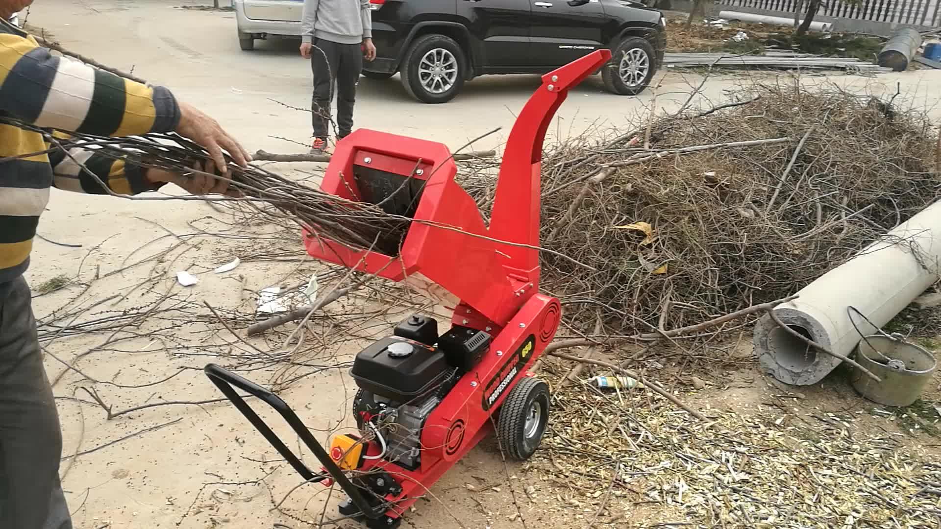 NEWEEK petrol 9hp engine fresh tree branch chipping machine twig chipper for organic fertilizer
