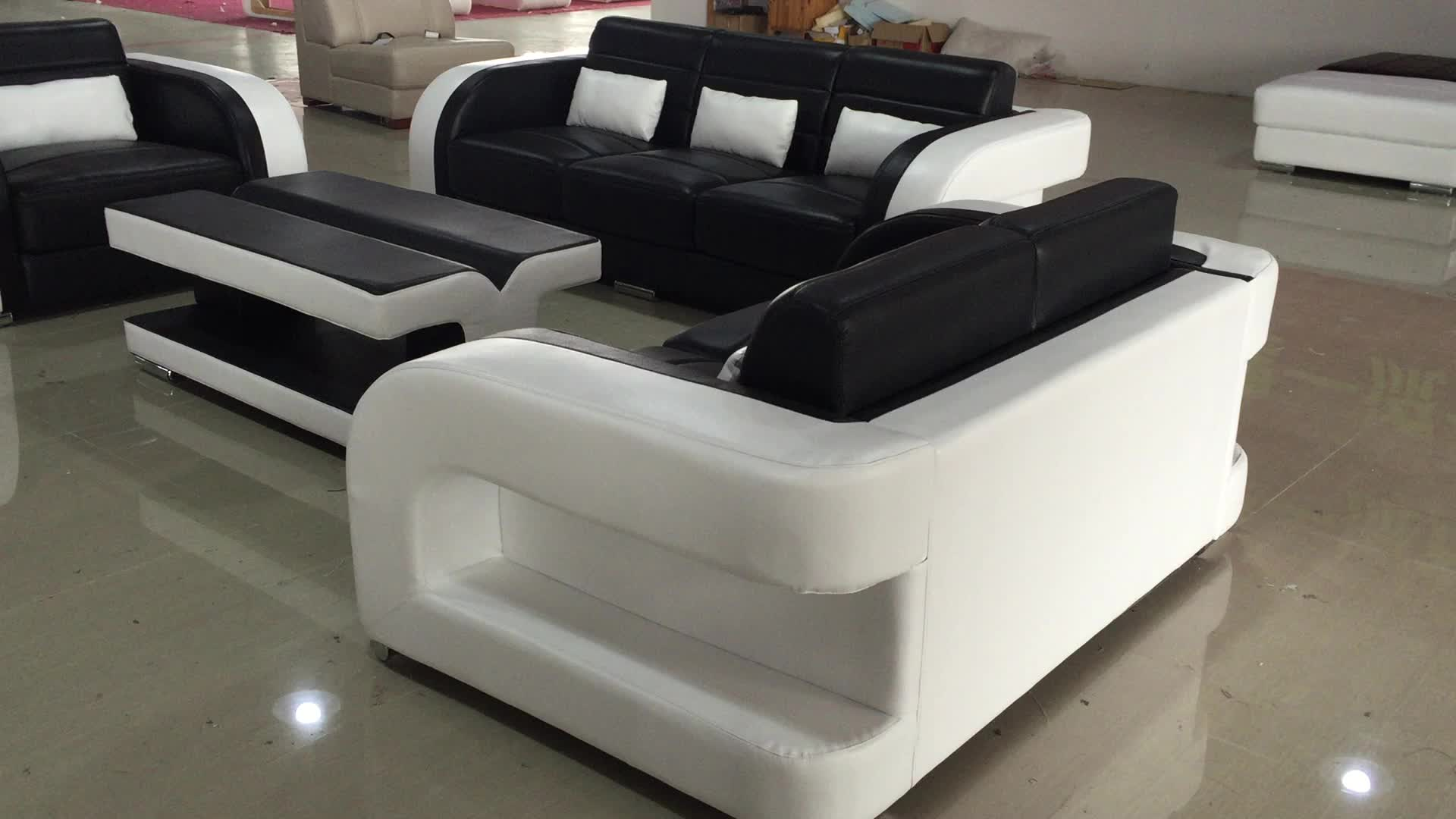 Black And White Genuine Leather Sofa For Sale C1183d