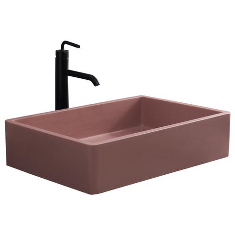 沐鼎岩板台上盆洗手盆长方形艺术洗脸盆家用卫生间人造石粉色面盆