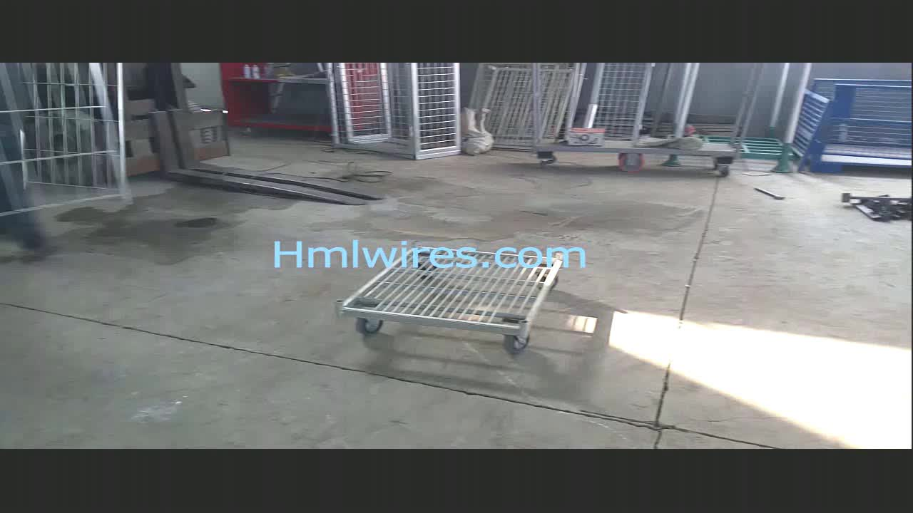 Steel Wire Mesh Laundry Supermarket Storage Folding Luggage Cart ...