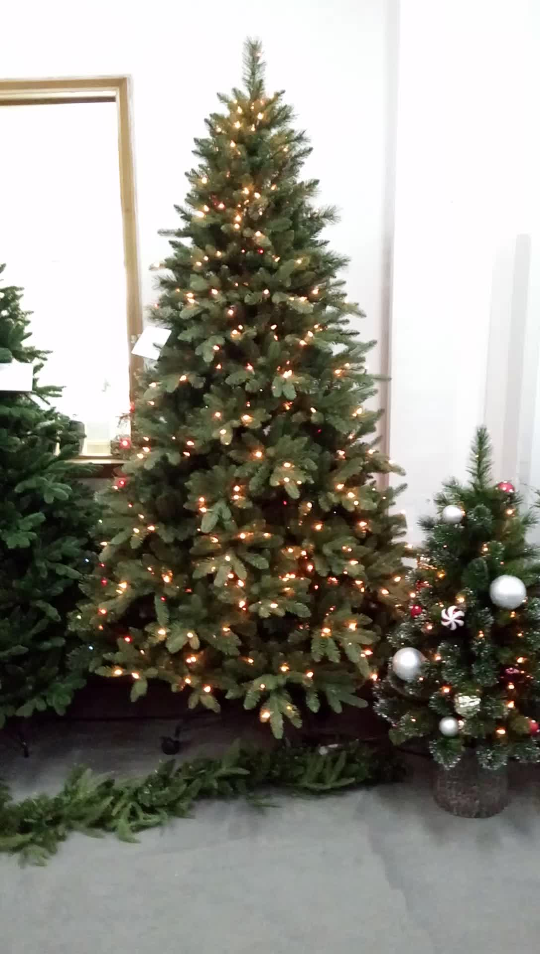 Artificial Pine Christmas Tree Pre-Lit UL Certified Warm White clear Lights with Metal Stand