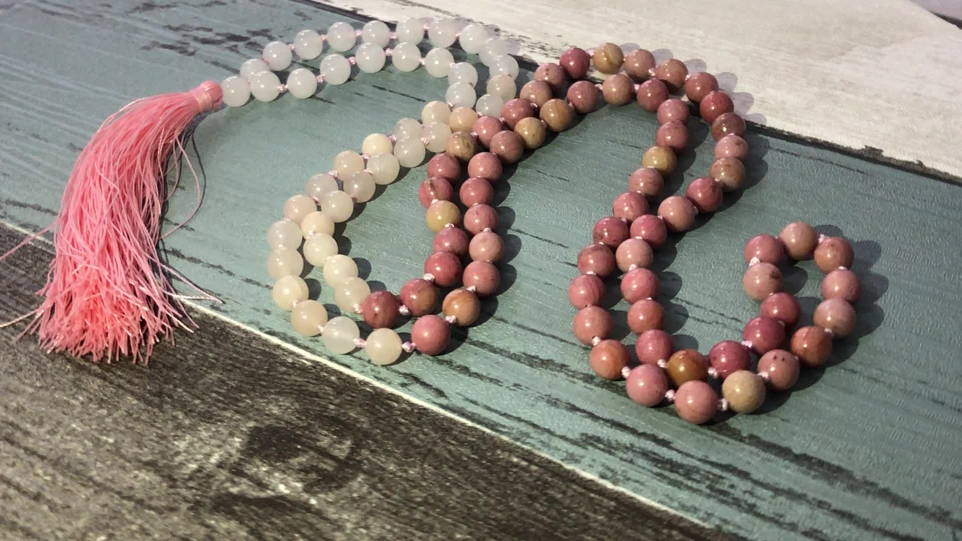 ST0626 Buddhis Prayer Beads Jewelry For Women 108 Red line Stone Necklace Healing Stone Red Necklaces With Long Tassel