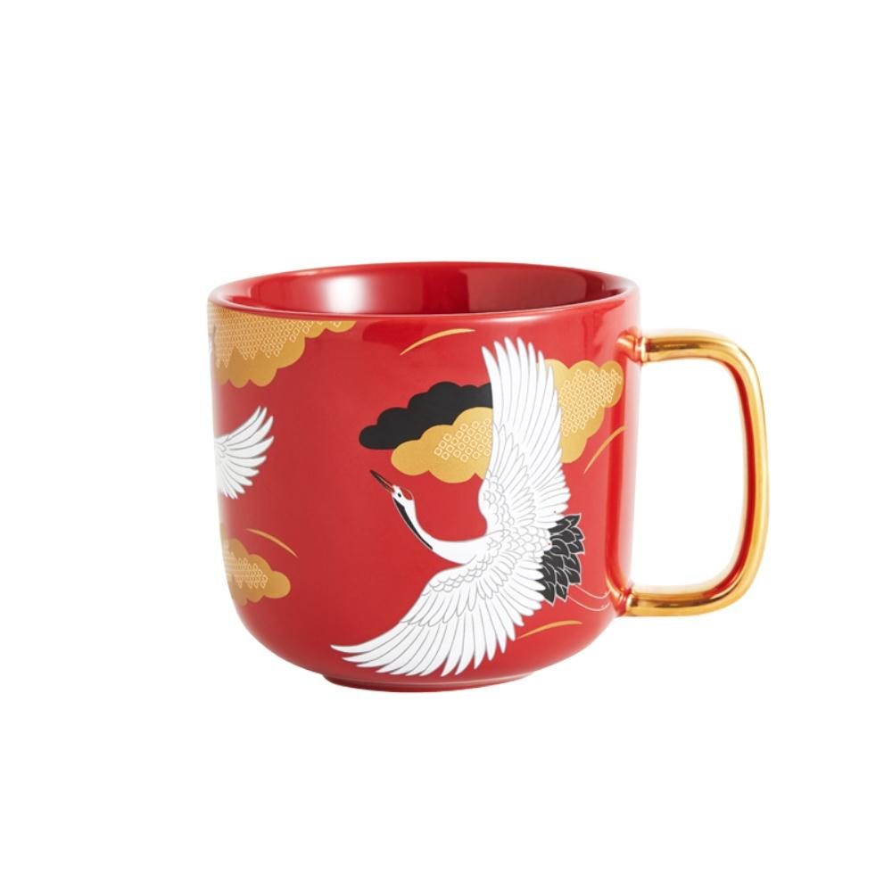共禾京品陶瓷马克杯中国风文创个性潮流复古咖啡茶杯带勺情侣水杯