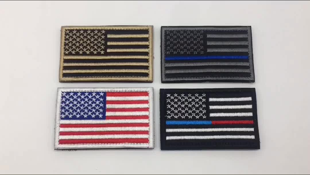 High Quality Iron-on Embroidery Patch in Stock Fashion American National Flag Embroidered Patches