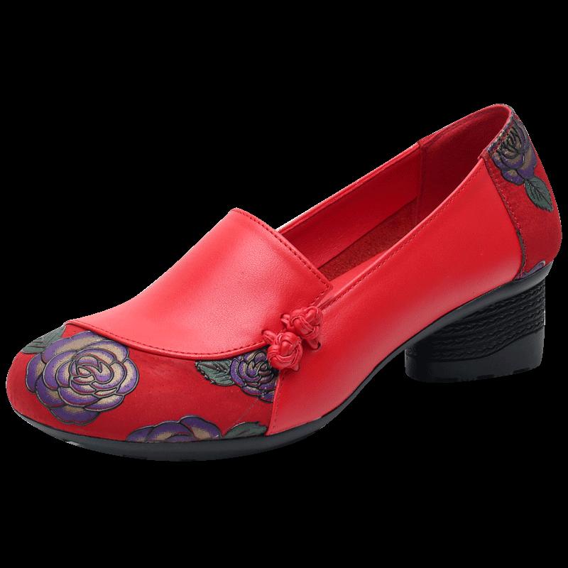 民族风女鞋2019春季新款粗跟单鞋中跟真皮中年妈妈鞋春秋大码皮鞋