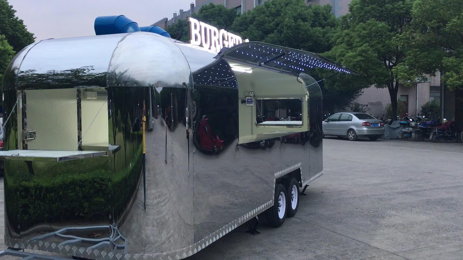 अमेरिकी मानक Airstream खाद्य ट्रक मोबाइल भोजन गाड़ी के साथ बिक्री के लिए रसोई
