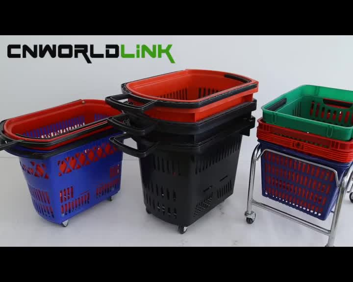 Rolling Shopping Plastic Baskets 45L with Wheels