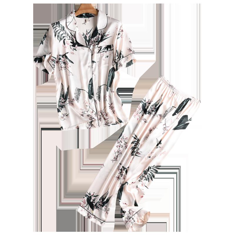 夏季冰丝睡衣女短袖长裤两件套薄款仿真丝绸家居服韩版套装春秋季
