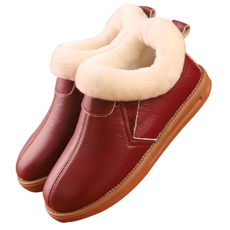 居家头层牛皮真皮包跟真羊毛内里棉拖鞋老人男女防滑保暖厚底包邮