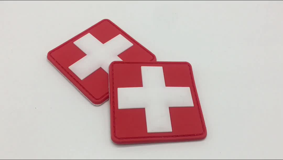 100% China Factory Red Cross 3D Soft Rubber Badge Custom Logo PVC Patches