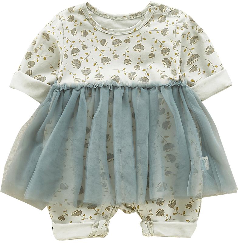 初生婴儿秋装女公主可爱三个月宝宝衣服新生儿连体衣秋季外出抱衣