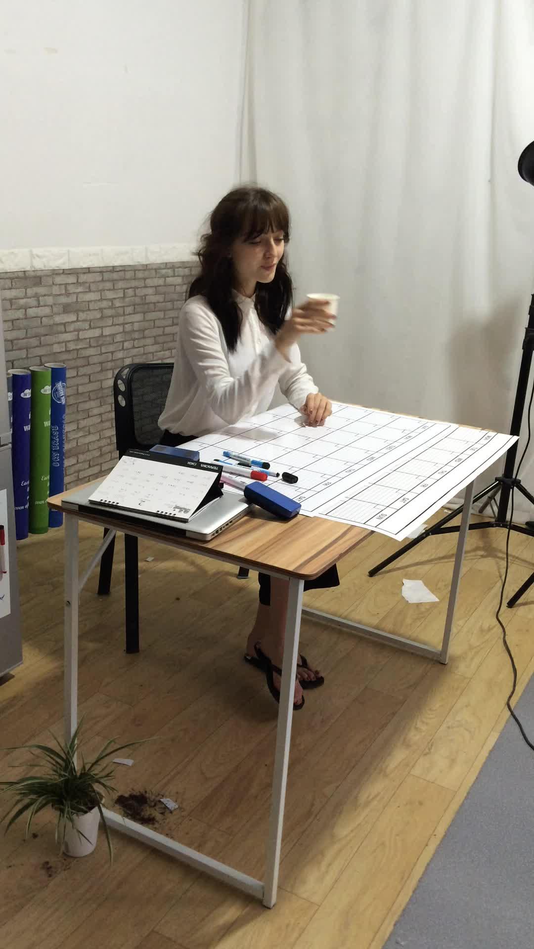 2018 Dry Erase Jumbo Wall Calendar Printing with Lamination