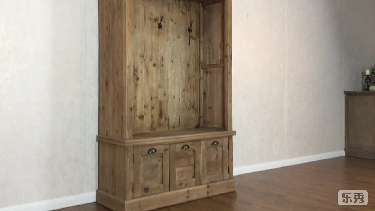 Reclaimed wood hall tree cabinet with shoe storage bench