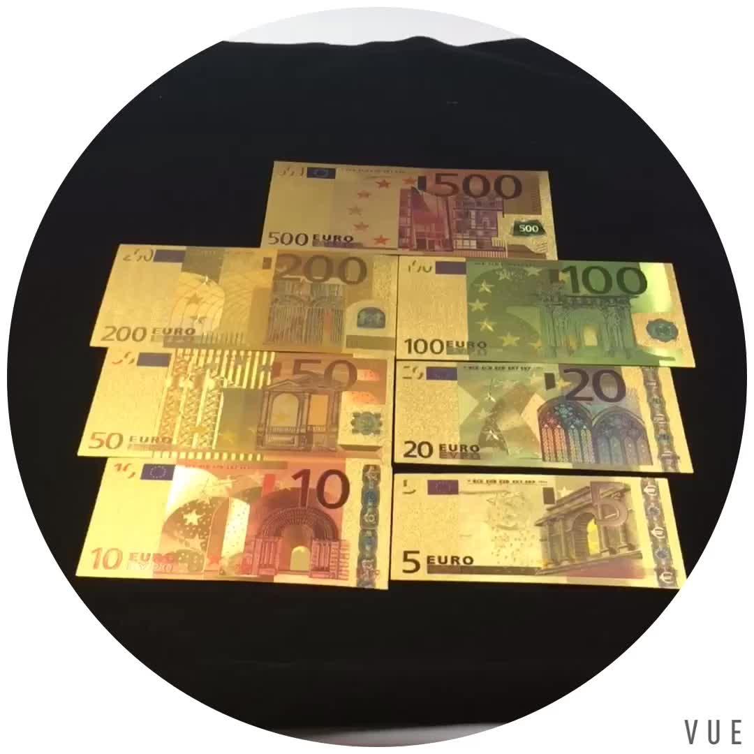 Europea Regali Di Natale PET 24 K lamina d'oro carta moneta 200 banconote in Euro con supporto in plastica