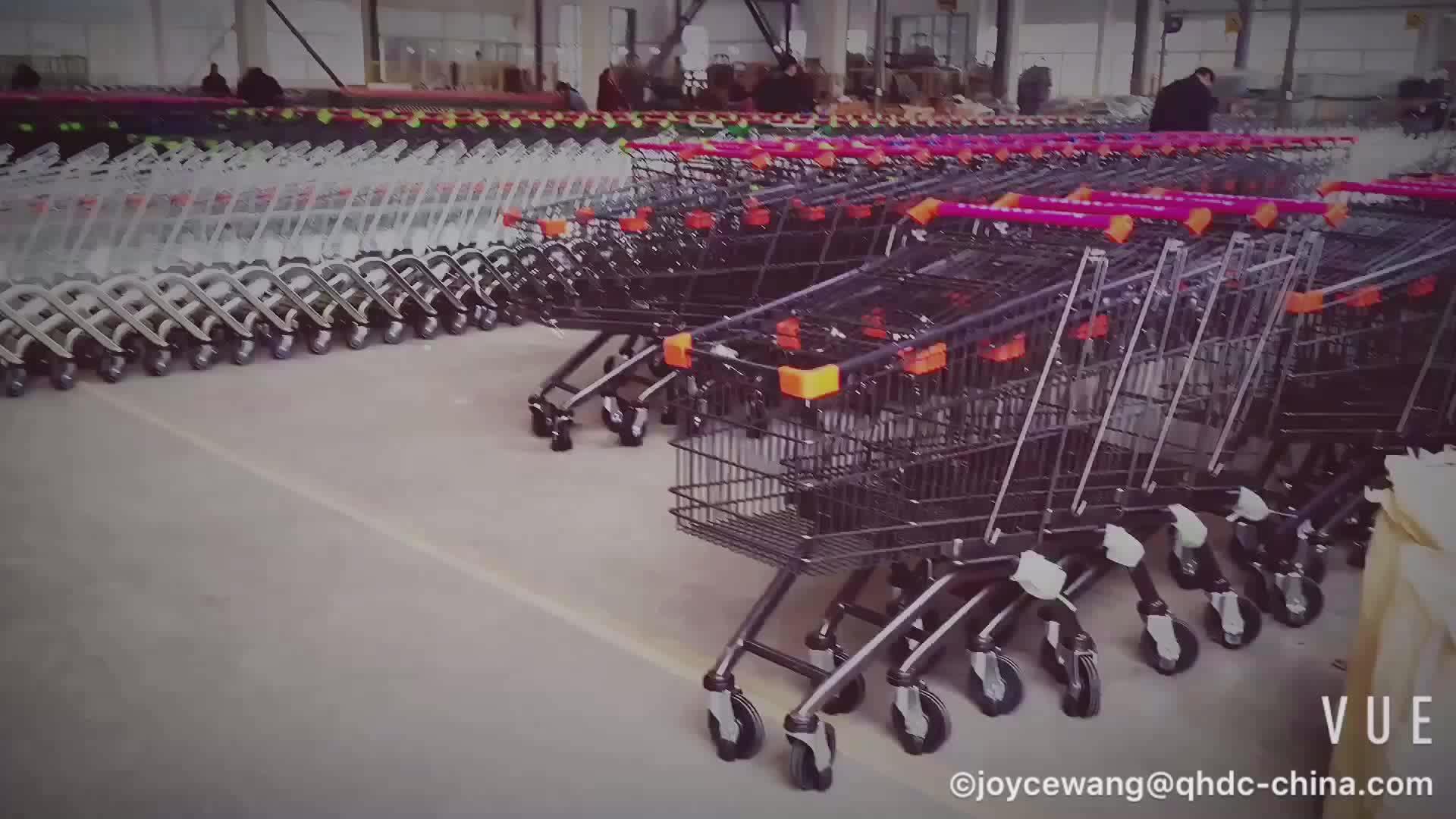 Zes wielen heavy duty trolley industriële push winkelwagen