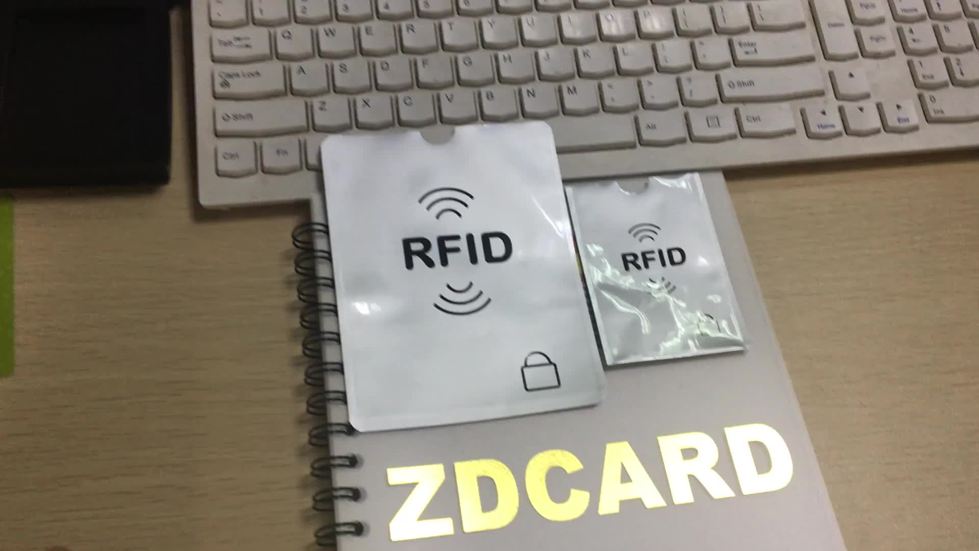 PE material RFID blocking card sleeve for credit card