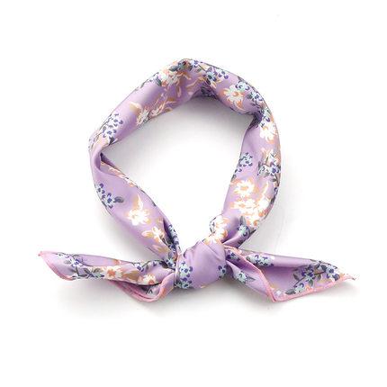flora文艺韩版韩式紫色印花短丝巾
