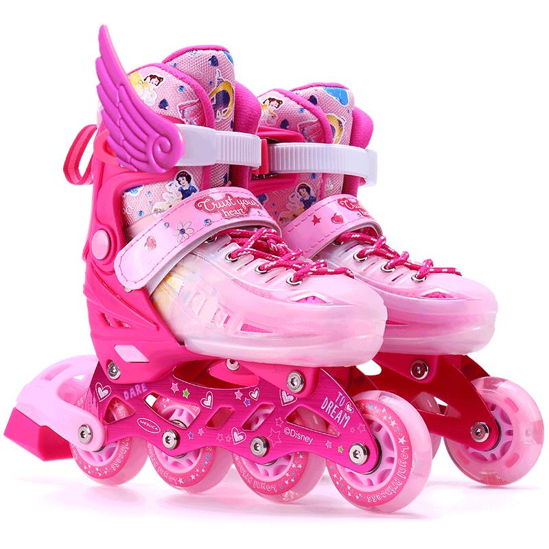 迪士尼溜冰鞋儿童全套装旱冰轮滑男女直排可调初学者3-5-6-8-10岁