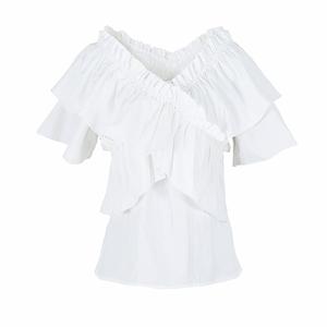 白色女荷叶边短袖心机设计感夏衬衫