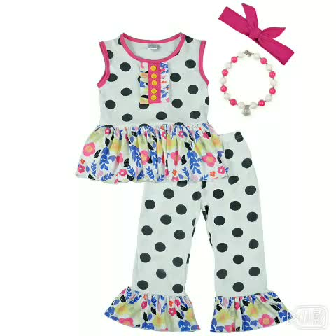 2018 new style baby outfit wholesale children clothes girls summer boutique outfit with necklace