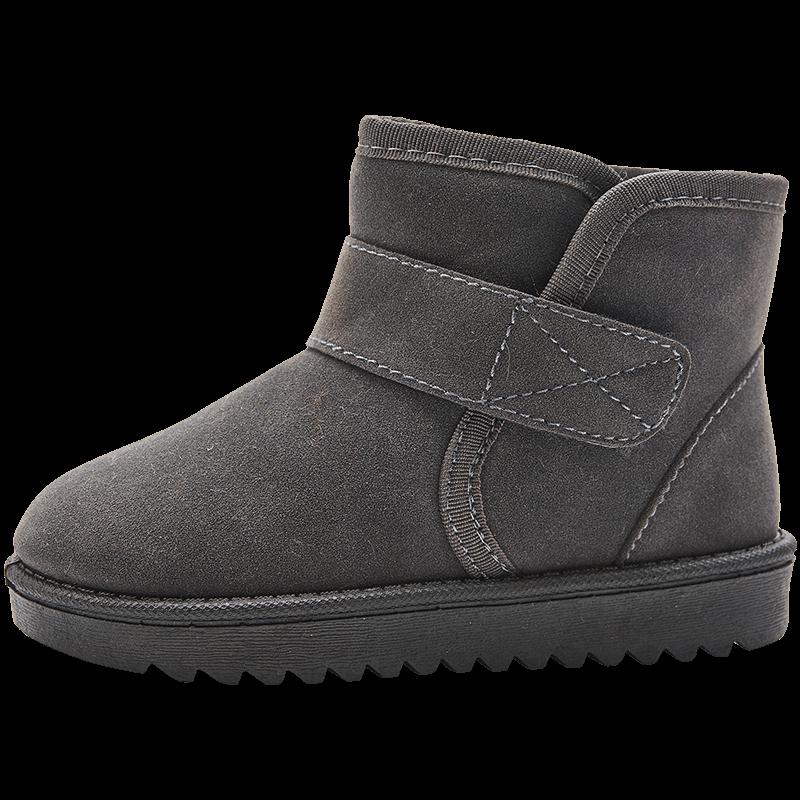 木木屋女童靴子2018新冬款儿童雪地靴男童短靴宝宝加棉加绒鞋子