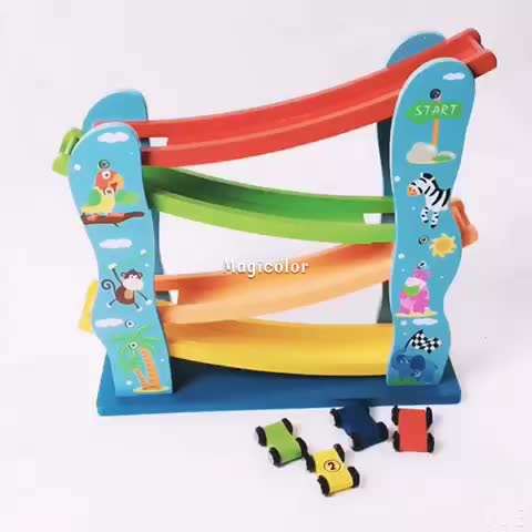 wholesale 4 level funny kids wooden toy car ramp best children wooden toy car ramp W04E048