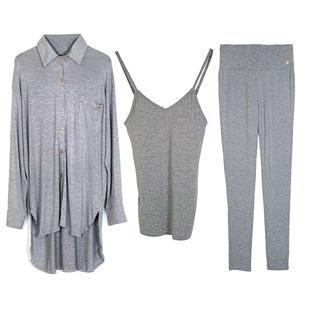 春秋吊帶長袖睡衣女薄款三件套夏莫代爾自帶胸墊可外穿家居服套裝