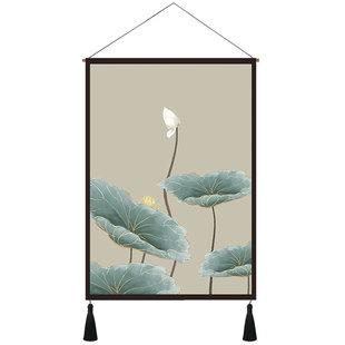 玄关装饰画荷花新中式布艺挂画现代客厅书房挂毯床头壁画竖中国风