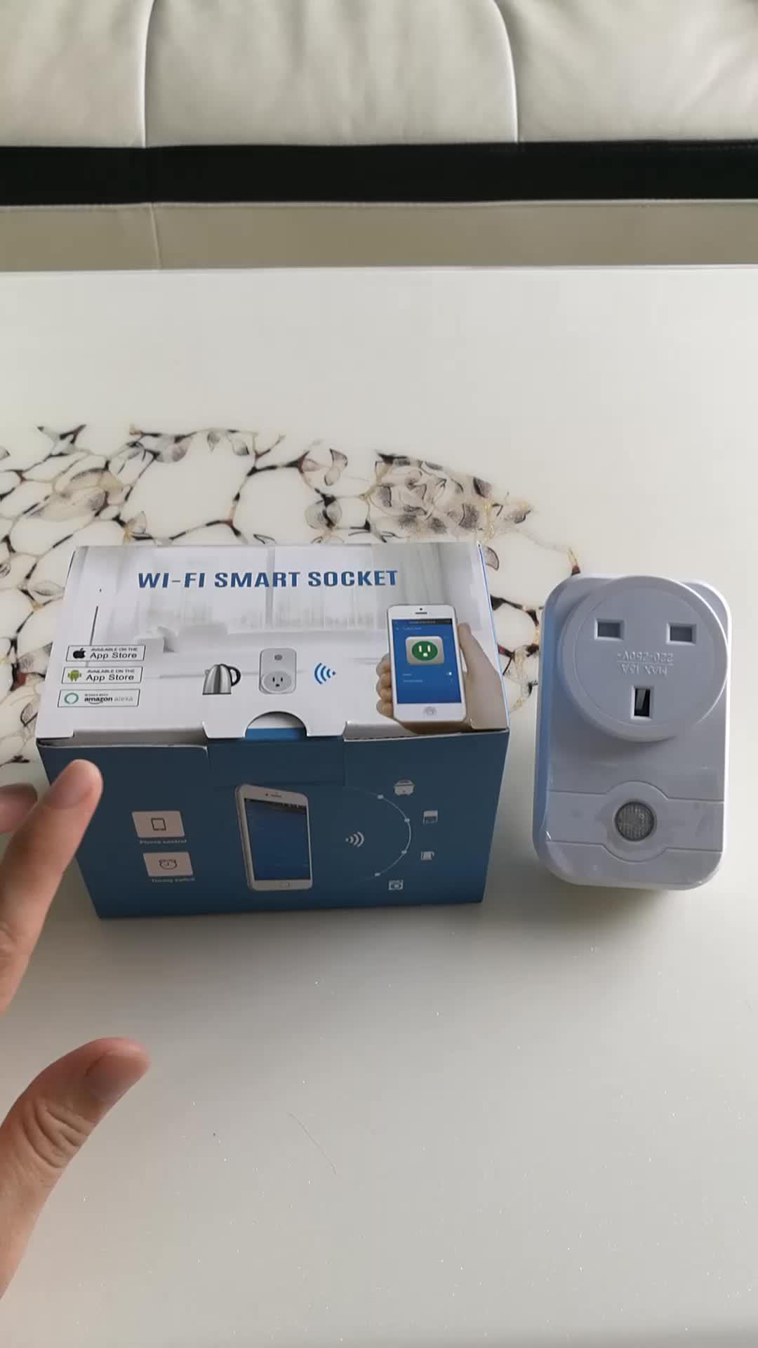 """ל-google בית אמזון alexa Wifi חכם תקע ארה""""ב בריטניה 3 פין שקע מתג עם app מבוקר"""