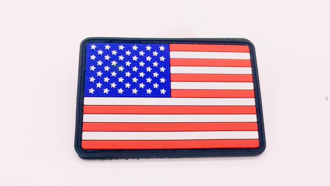 Manufacturer Wholesale USA Rubber Logo Flag Patches for Clothing