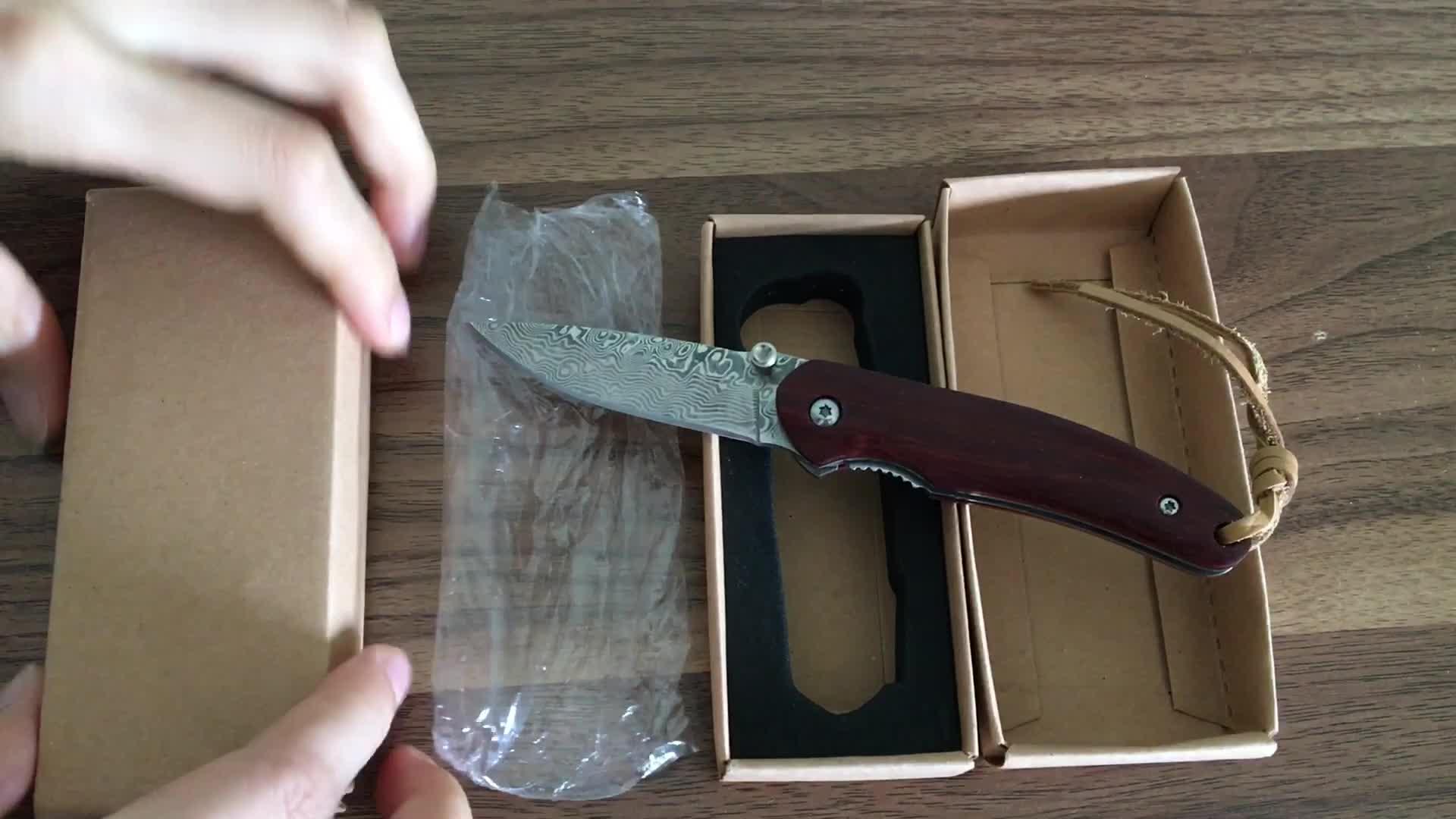 Şam Çelik Kurtarma Katlanır Bıçaklar Ahşap Saplı Cep EDC Aracı Bıçak