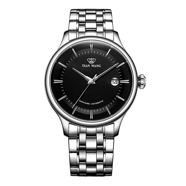 天王表官方正品钢带机械表大表盘男表潮酷手表51134