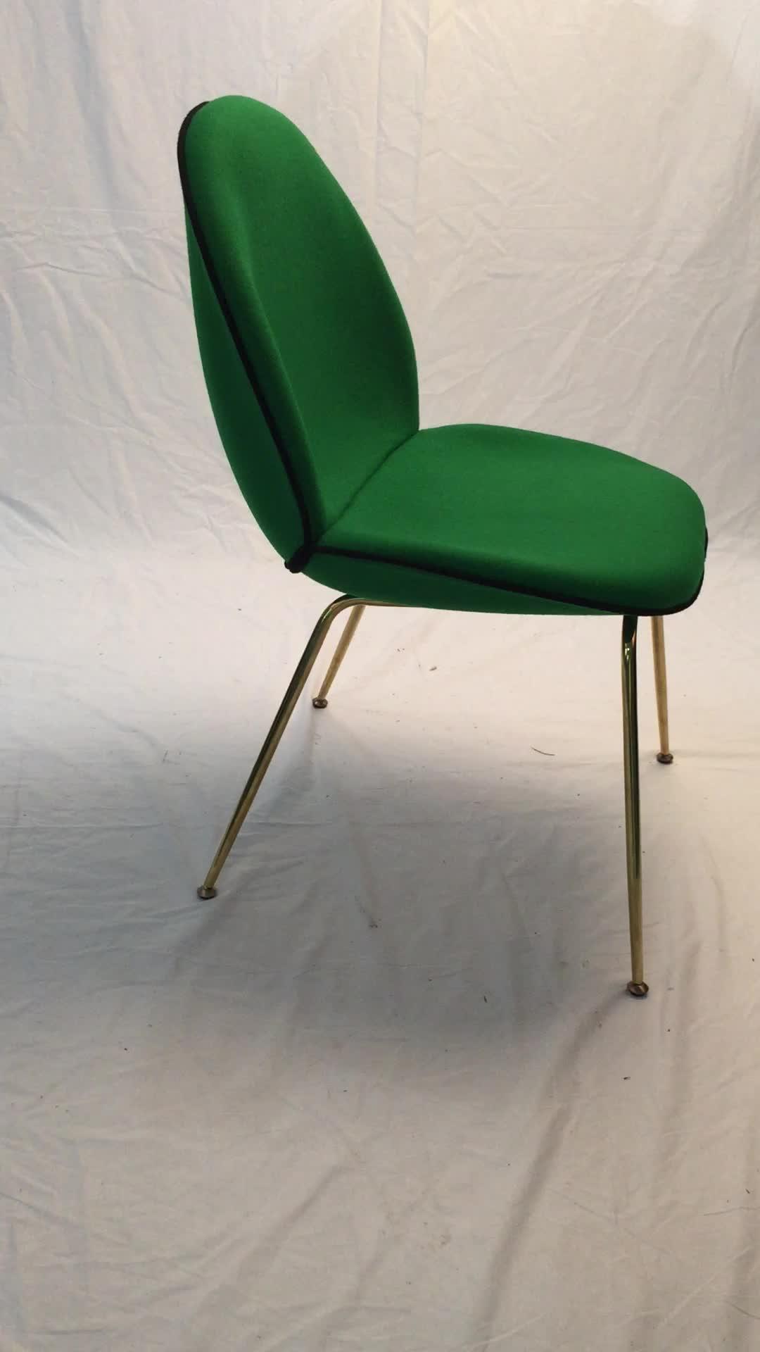 Danish Design Gold Legs Beetle Chair Gubi With Velvet