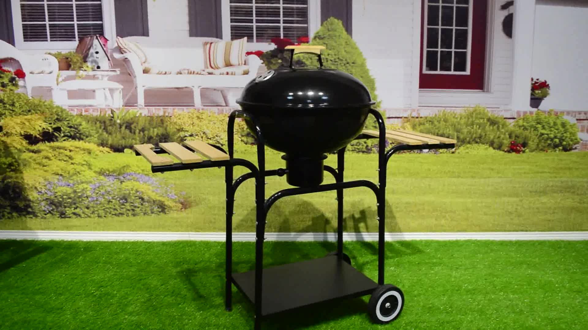 Commercial wholesale professional outdoor trolley charcoal bbq grill for backyard camping