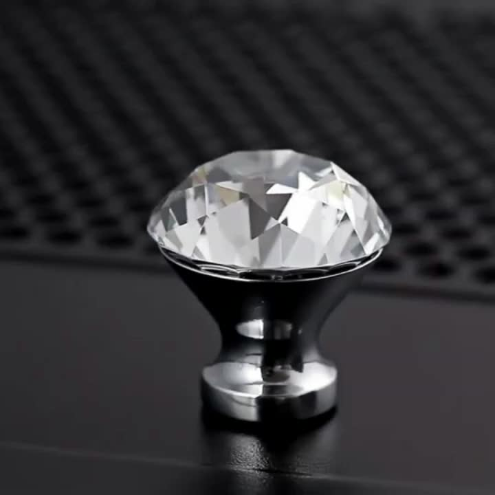 Modern 40mm Diamond Crystal cabinet glass gear shift door knob lock