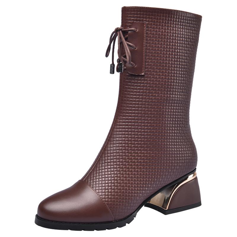 思卡琪冬季加绒中跟粗跟圆头中筒靴质量如何