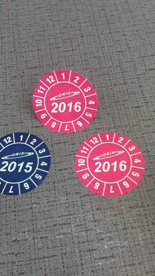 安い税関非破壊ビニール保証ステッカー印刷、ラウンドサイズ日付保証ラベルで任意のロゴ