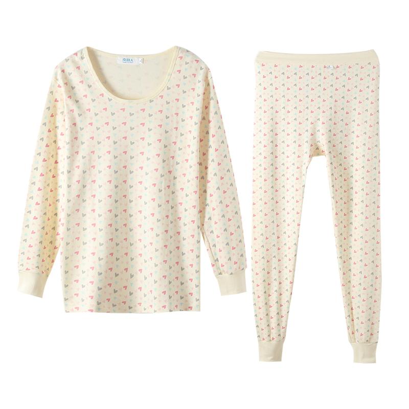 南极人100%纯棉圆领女士秋衣秋裤套装薄款保暖内衣中老年全棉毛衫