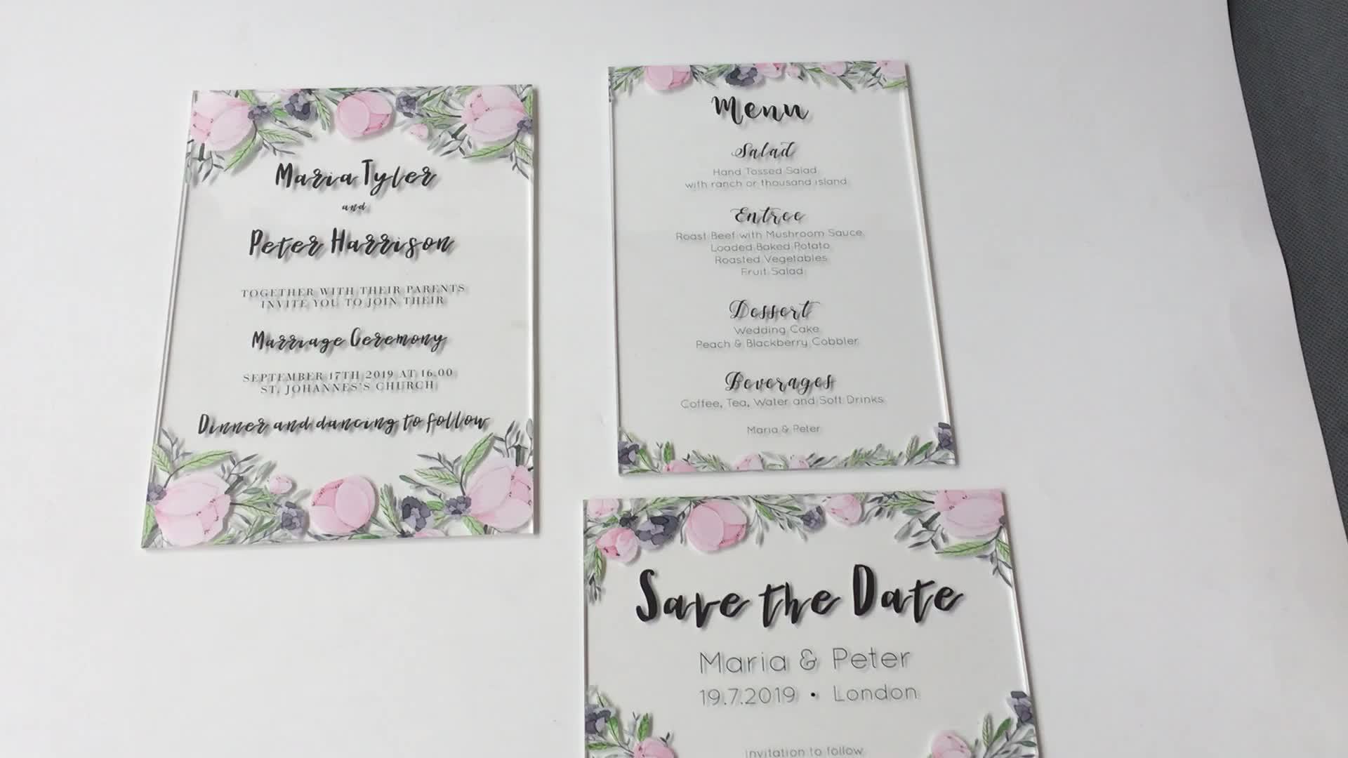 Gorgeous printable Watercolor Acrylic Wedding Romantic Calligraphy Invitation Set